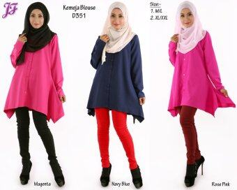 ... JF Fashion Kemeja Blouse D351 (Navy-Blue) - 5