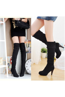 Jo.In Women's Over the Knee High Heels Boot Shoes Black Brown(Black)