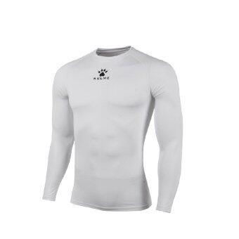 Kelme K15Z705 Men Quick-drying Unitard Long Sleeve Football Sport T-shirt Straitjacket (White)