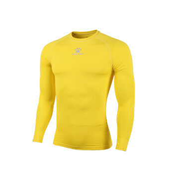Kelme K15Z705 Men Quick-drying Unitard Long Sleeve Football Sport T-shirt Straitjacket (Yellow)