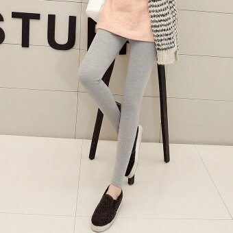 Korean-style cotton black female Plus-sized feet pants bottoming pants (Light gray color) (Light gray color)