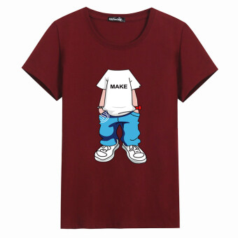 Korean-style cotton youth Plus-sized base shirt T-shirt (Wine red color)