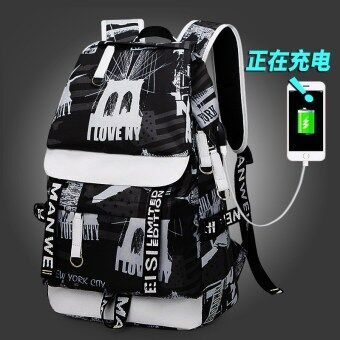 Korean-style female high school student school bag backpack (Rechargeable version of the black and white printed)