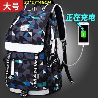 Korean-style female travel backpack business shoulder bag (Large charging version of plaid printed)