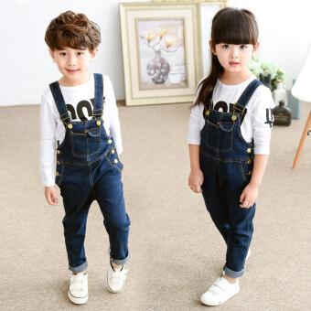 Korean-style girls denim overalls casual pants