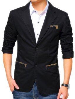 Korean Style Slim Fit Casual Men Blazer Coat/Men Suit Jacket(Black ...
