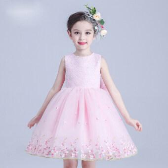 Korean-style small girl's summer skirt girls dress (Pink plum dress) (Pink plum dress)