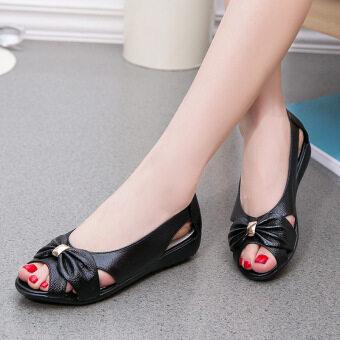 Ladies Sandals Women Cow Leather Hollow Flat Bowknot Butterfly-Knot Metal Plus Size Woman Sandals -Black - 2