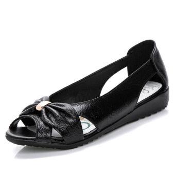 Ladies Sandals Women Cow Leather Hollow Flat Bowknot Butterfly-Knot Metal Plus Size Woman Sandals -Black - 3