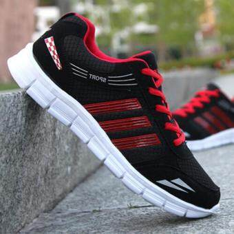 LALANG Men Outdoor Sport Jogging Running Shoes Sneakers Casual Mesh Breathable Trainers Low Cut Flat Shoes (Black)
