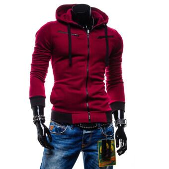 Large size mens Sweatshirts jacket sports coat zipper red | Lazada ...