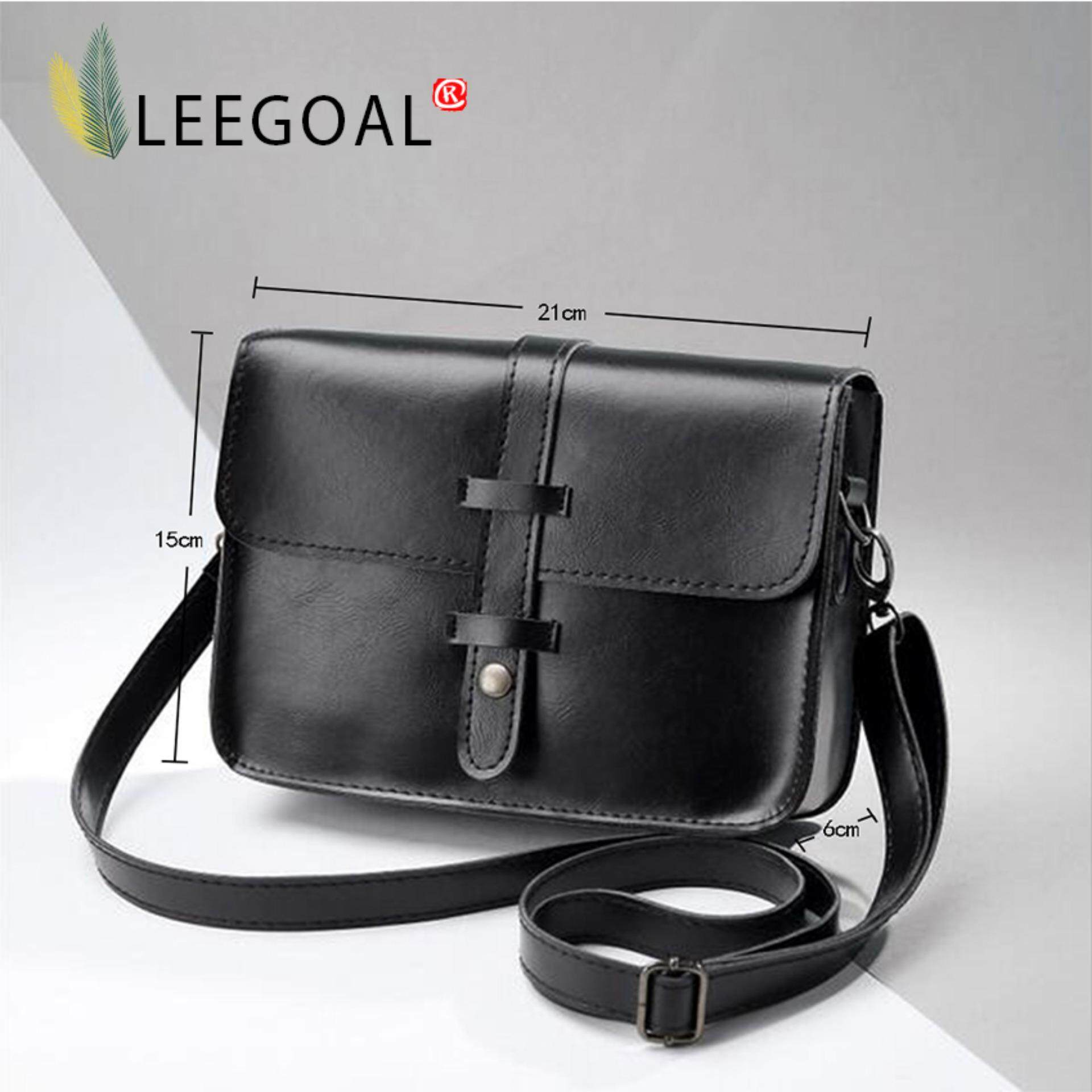 leegoal Women Fashion PU Leather Messenger Bag Shoulder Bag (Black ...
