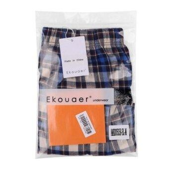 Linemart Ekouaer Men Boxer Mesh Patchwork Print Soft Medium Waist Daily Underwear Pack of 2 ( Blue ) - 5