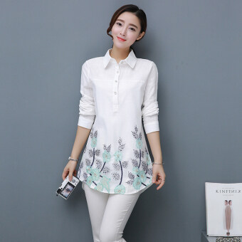 Literary loose embroidery shirt (Flower leaves) (Flower leaves)