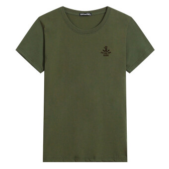 LOOESN cotton round neck Plus-sized base shirt T-shirt (Anchor green)
