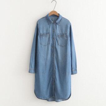 Loose Korean-style cowboy female long-sleeved shirt dress shirt