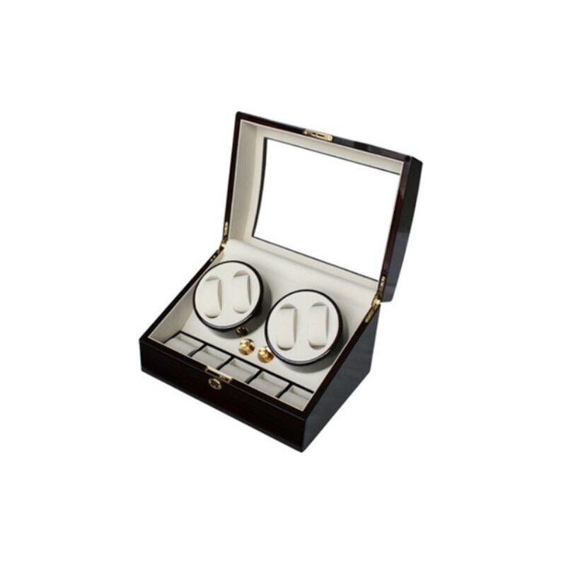 Luxury High Gloss Wooden Watch Winder with Key Lock (Ebony) Malaysia