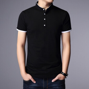 Male short-sleeved loose version of Summer Youth cotton Plus-sized T-shirt (Black)