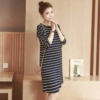 Maternity Dress Striped Long Sleeve Nursing Dress Pregnant Clothes