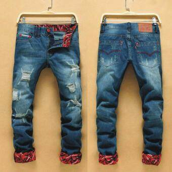 Harga Men Designed Straight Slim Fit Casual Jean