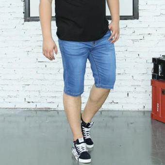 Men Stretch Denim Jean Shorts Plus Size Jeans Stretchy Summer MenShort Pants Trouser - light blue