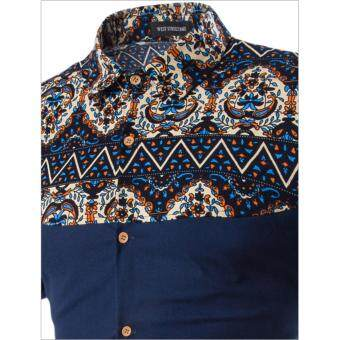 Men's Casual Batik Design Short-Sleeved Shirt (White) - 3