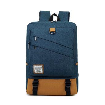 Men's computer bag 15.6-inch laptop backpack female college students school bags casual travel shoulder bag (Dark blue 18 inch)