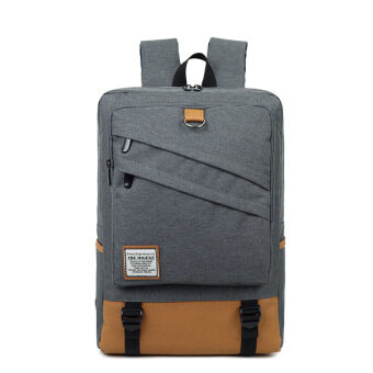 Men's computer bag 15.6-inch laptop backpack female college students school bags casual travel shoulder bag (Inch gray 18)