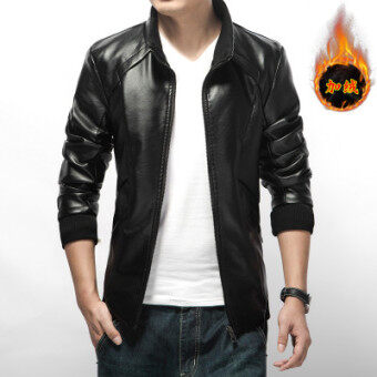 Men's Korean-style Large Size Thickened Leather Jacket (Black color)