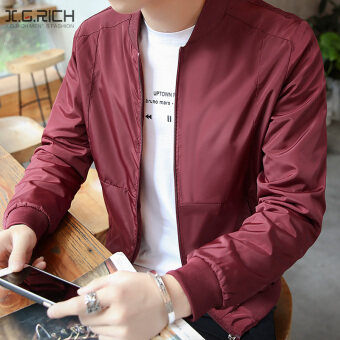 Harga Men's New style Spring and Autumn casual jacket (Memory fabric maroon) (Memory fabric maroon)