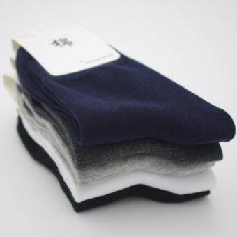 Men's bussiness pure cotton pure color medium Sweat absorbing socks