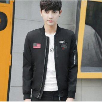 Men's Fashion Baseball Wear Men's Casual Bomber Jackets Black