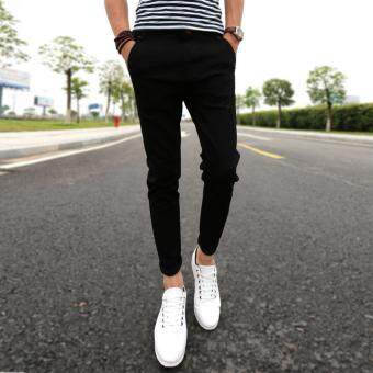 Mens Fashion Slim Casual Denim Pants Youth Cotton Skinny Men Jeansmovement Fit Trousers Black - 2