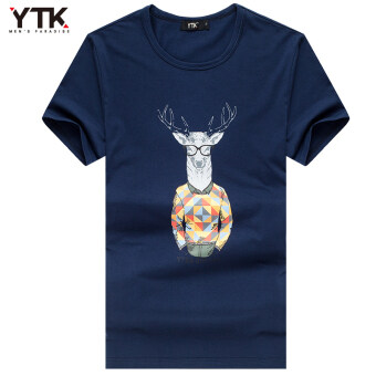 Men's New style Slim fit round neck Print tide short-sleevedt-shirt shirt (Borland)