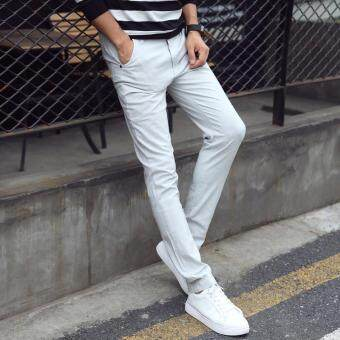 Men's Spring Summer Casual Fashion Slim Fit Pants Cotton StretchyFabric Trousers Skinny Pencil Pants - white