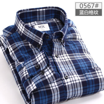 MJX2017 autumn brushed men's plaid shirt long-sleeved Korean-styleTeenager casual bottoming shirt jacket inch (0567 (Blue plaid))