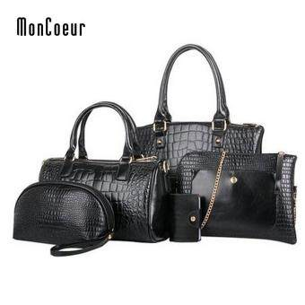MonCoeur C01 Set of 5 in 1 Luxury Faux Crocodile Leather HandBags (Classic Black)