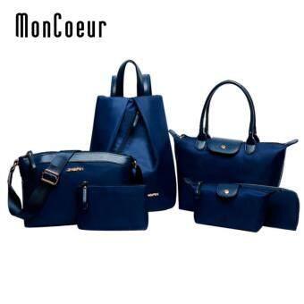 MonCoeur D005 Set of 6 in 1 Woman Premium Nylon Handbag (Blue)
