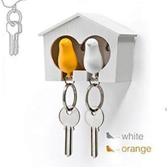 Moonar Cute Romantic white bird house hanging bird shaped lovers'key chain ,a wonderful gift for lovers and friends
