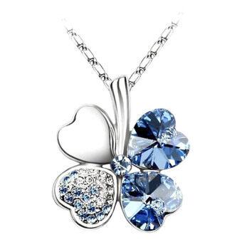 MuWo Trendz White Gold Plated Swarovski Element Crystal Timeless Necklace - Clover - Dark Blue Silver