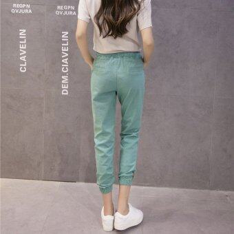 New Casual Cotton and Linen Nine Trousers Harem Pants (Green) - 2