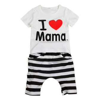 Harga New Girls Boys T-shirt Short Sleeve I LOVE Papa Mama PrCM T-shirtCostume