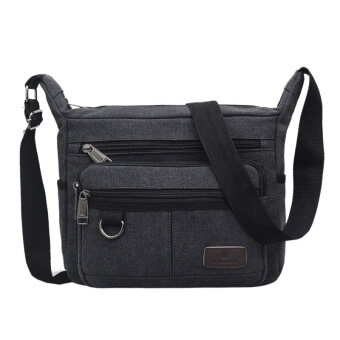 New style canvas bag man bag large capacity casual shoulder bag multi-compartment messenger bag shoulder bag business is closing wallet men (Black)