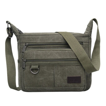 New style canvas bag man bag large capacity casual shoulder bag multi-compartment messenger bag shoulder bag business is closing wallet men (Dark green color)