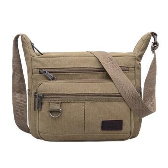 New style canvas bag man bag large capacity casual shoulder bagmulti-compartment messenger bag shoulder bag business is closingwallet men (Casual color)