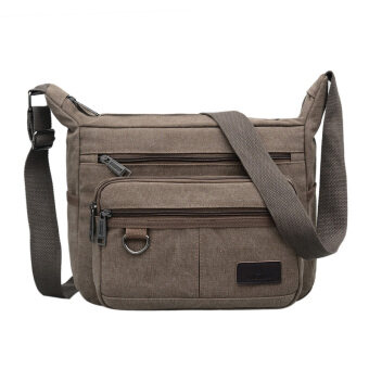 New style canvas bag man bag large capacity casual shoulder bagmulti-compartment messenger bag shoulder bag business is closingwallet men (Coffee color)
