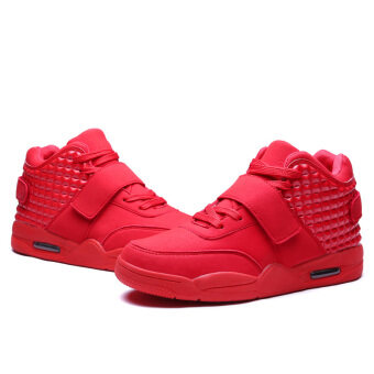PINSV Men Casual Shoes High Cut Sneakers (Red) - 4