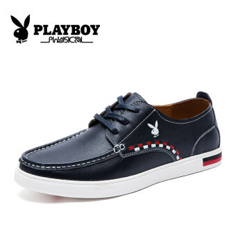 PLAYBOY British lace casual leather shoes men's shoes (Shen Lan)