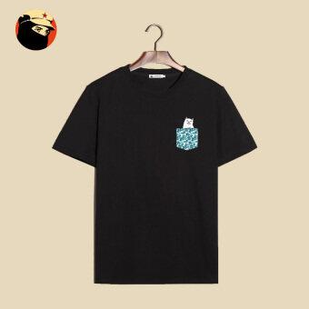 Popular brand Japanese-style short sleeved t-shirt (T-052-pocket middle finger black cat) (T-052-pocket middle finger black cat)