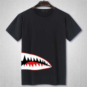 Harga Popular brand VISHARK short sleeved t-shirt (Black Monster teeth)